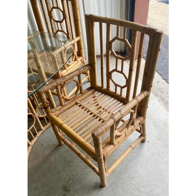 Boho Chic Vintage Medallion Bamboo Dining Table and Chairs - Set of 5 For Sale - Image 3 of 10