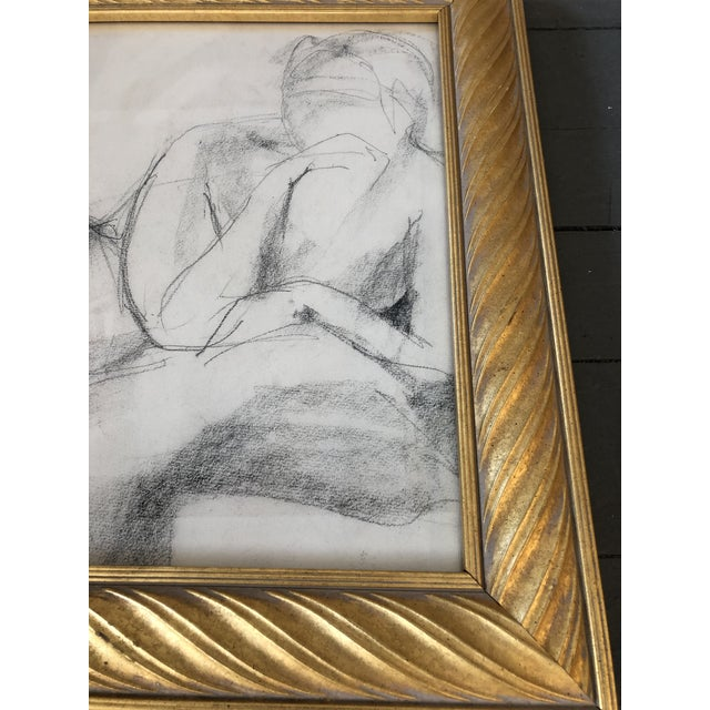 Original charcoal drawing on paper Unsigned 13 x 13 Overall size with vintage frame is 17 x 17