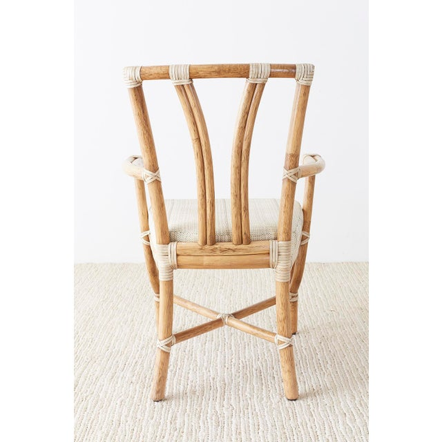 Pair of McGuire Organic Modern Bamboo Rattan Armchairs For Sale - Image 12 of 13