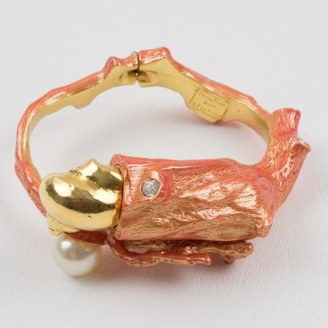 Christian Dior Dune 1987 Gilt Metal Coral Branch Clamper Bracelet For Sale - Image 11 of 13