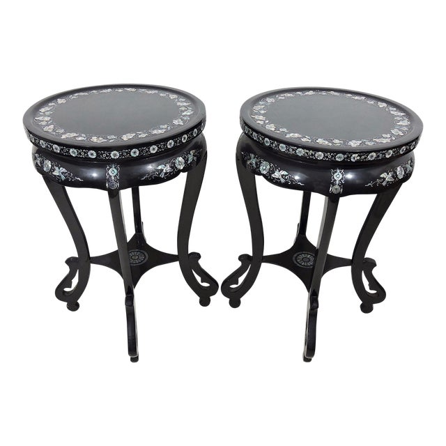 Antique Black Lacquer and Mother of Pearl Inlayed Oriental Side or Accent Tables - a Pair For Sale