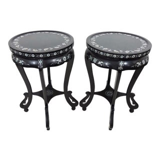 Fine Black Lacquer and Mother of Pearl Inlayed Asian Side / End Tables / Pedestals - a Pair For Sale
