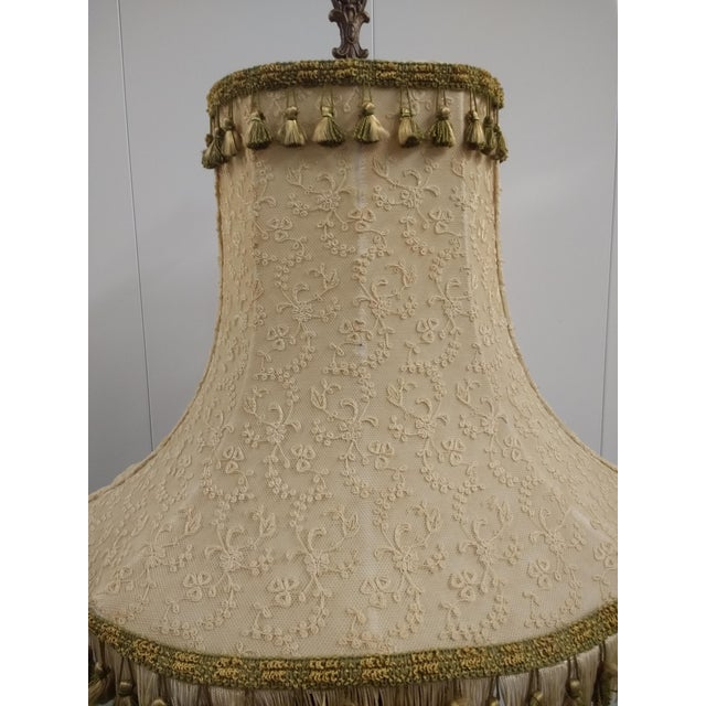 Antique Black Glass & Brass Table Lamp With Lamp Shade For Sale In Phoenix - Image 6 of 8