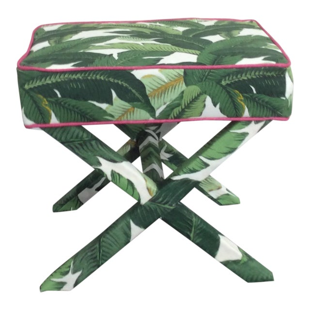 Modern Tommy Bahama Swaying Palm Fabrics X-Bench For Sale