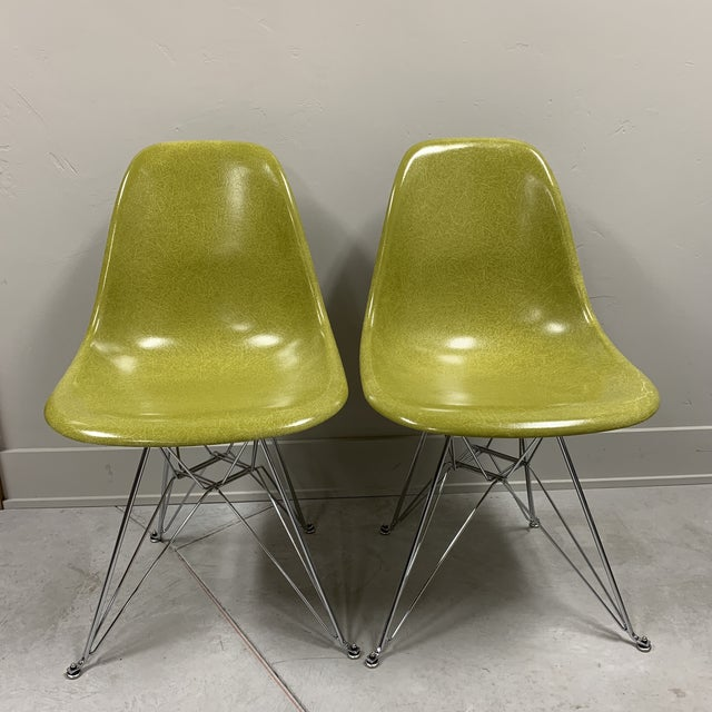 Mid-Century Modern Citron Modernica Shell Side Chairs - a Pair For Sale - Image 10 of 10