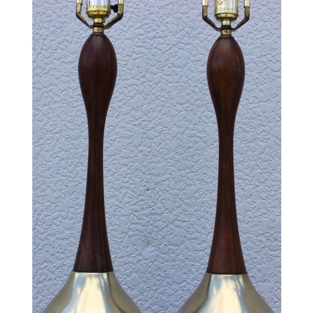 Mid 20th Century Tony Paul Brass and Walnut Table Lamps For Sale - Image 5 of 11