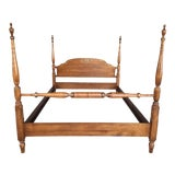 Image of L. Hitchcock Harvest Maple Paint Decorated Full Size Poster Bed Frame For Sale