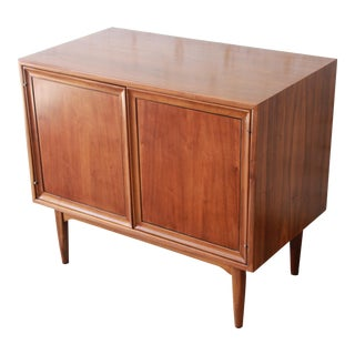 Kipp Stewart for Drexel Declaration Mid-Century Walnut Record Cabinet For Sale