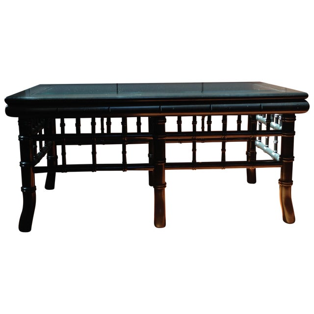 Black Faux Bamboo Coffee Table With Glass Top - Image 1 of 8