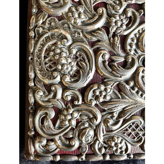 Ornate Sterling Silver Book Cover Photo Scrap Album W Red Leather Interior For Sale - Image 4 of 13