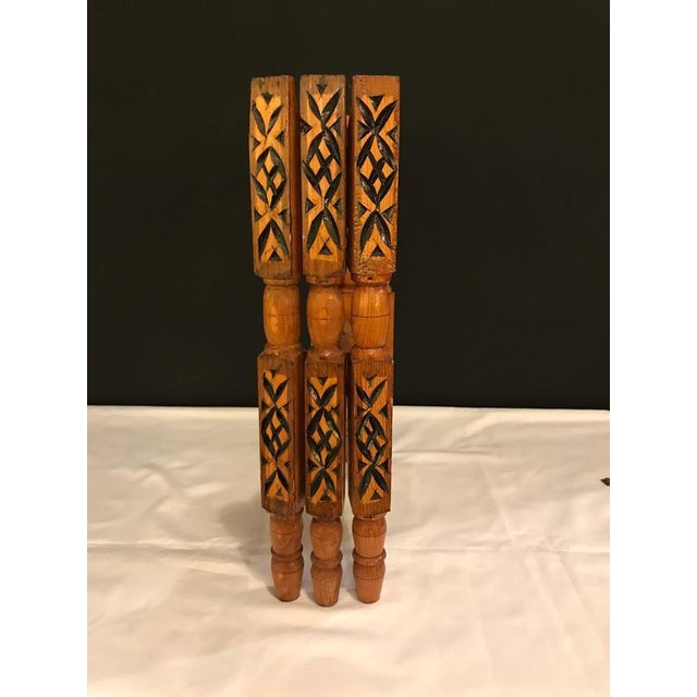 1990s Hand-Carved Wood Tray Legs For Sale - Image 5 of 11