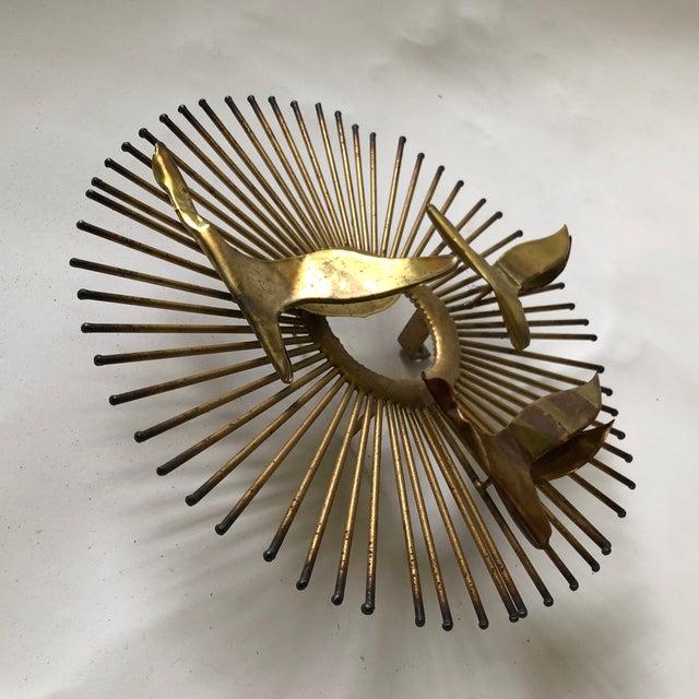 Mid Century Brass Sunburst Jere Style Sculpture For Sale - Image 9 of 10