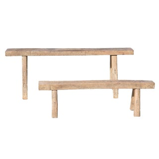 Rustic Country Benches - Set of 2
