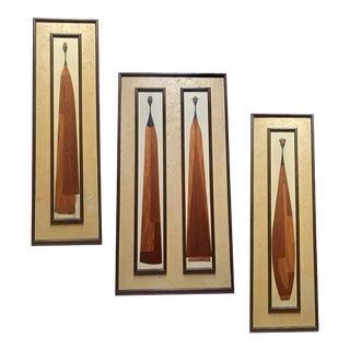 "Mid Century Modern Wood Sculptural Wall Panels 49 "" Nairobi Collection - Set of 3"