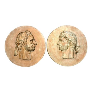 Greek Emperor Large Round Medallions, A-Pair For Sale