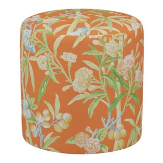 Scalamandre Drum Ottoman in Mandarin Lanai For Sale