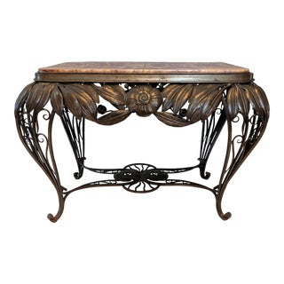 1930's Vintage French Wrought Iron & Marble Coffee Table For Sale
