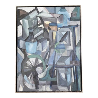 Mid-Century Modern Abstract Oil on Canvas Painting For Sale