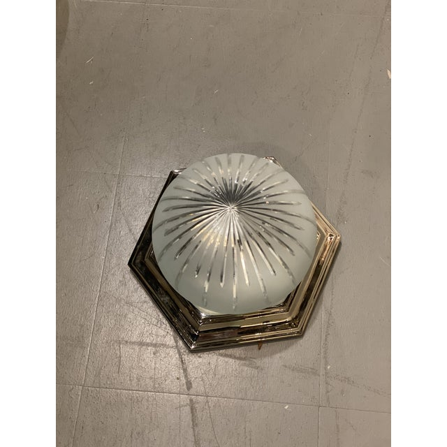 1940s 1940s Nickel Plated Light Fixture For Sale - Image 5 of 6
