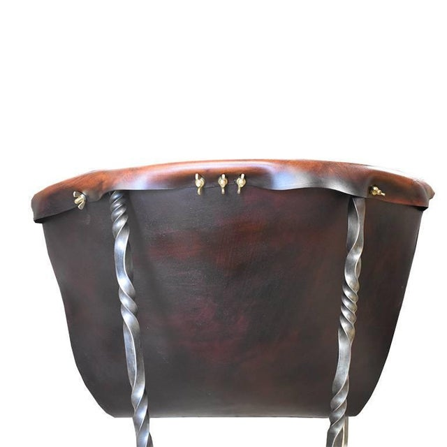 2010s Custom Steel and Leather Hand-Forged Black and Brown Handmade Sling Chairs - a Pair For Sale - Image 5 of 12