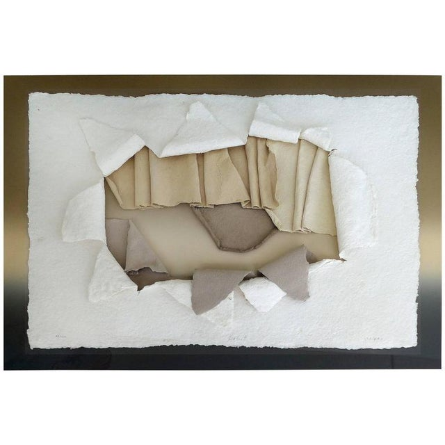 20th Century Handmade Paper Wall Sculpture Incased in Acrylic For Sale - Image 11 of 11