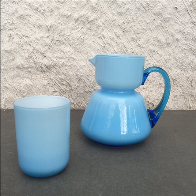 Michael Bang for Holmegaard Blue Pitcher & Cup - Image 3 of 5