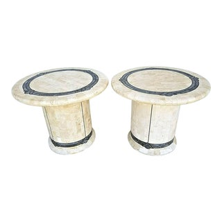 Maitland Smith Tessellated Fossil Stone + Inlaid Brass End Side Tables-Set of 2 For Sale