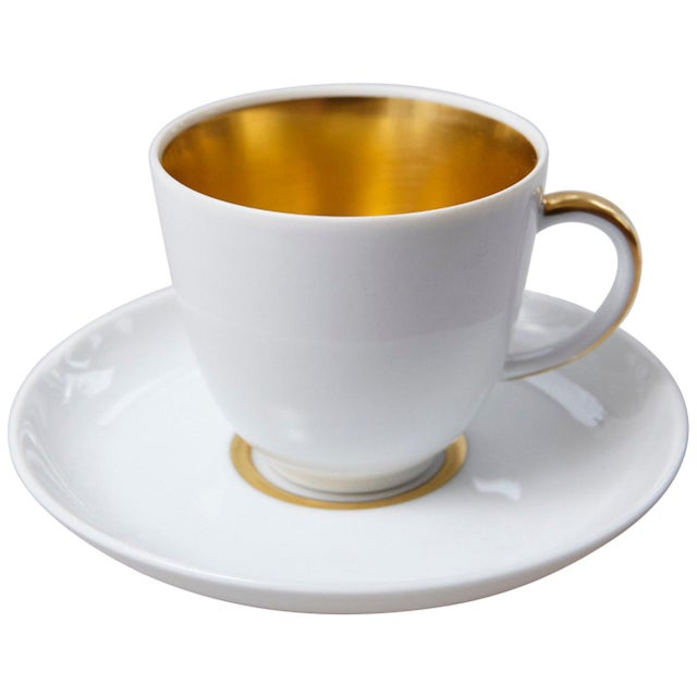 Set of 10 White and Gold Fürstenberg Porcelain Demitasse Cups & Saucers, Germany For Sale - Image 13 of 13
