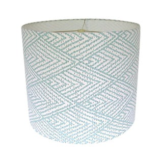 Large Lacefield Designs Tahitian Stitch Aqua Custom Drum Lamp Shade For Sale