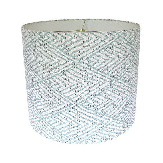 Large Lacefield Designs Tahitian Stitch Aqua Custom Drum Lamp Shade For Sale