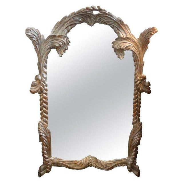 Vintage Serge Roche Inspired Carved Wood Silver Gilt Palm Frond Mirror For Sale - Image 12 of 12