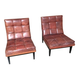 Mid-Century Modern Camacho Roldan & Artecto Colombia Brown Leather Lounge Chairs - a Pair For Sale