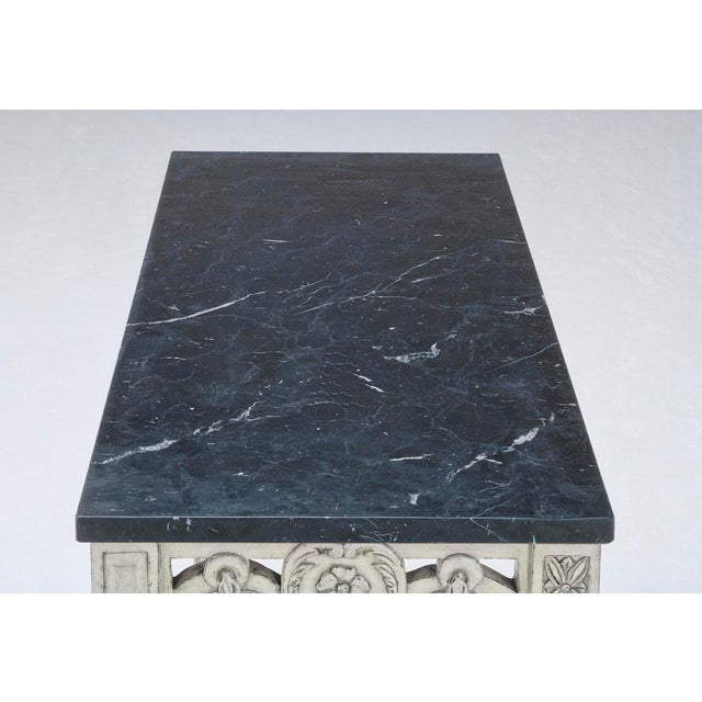 Traditional Swedish Pierced Rim Marble Top Console Table For Sale - Image 3 of 4