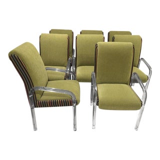 Leon Pace Lucite Dining Chairs Armchairs - Set of 8 For Sale