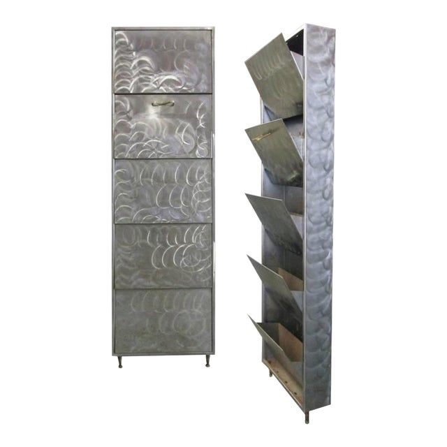 Pair of French Industrial Polished Steel Bronze Mounted Cabinets - Image 1 of 8