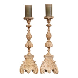 Pair of 19th Century Carved Pricket Candleholders and Carved Eye of Providence For Sale