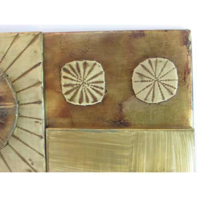 Brutalist Brass Wall Sculpture For Sale - Image 4 of 6