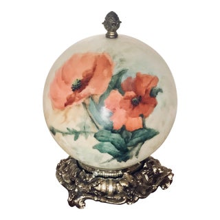 Hollywood Regency Painted Floral Globe Table Lamp For Sale