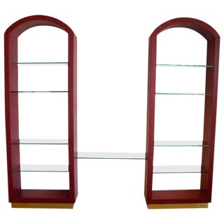 Red Lizard Skin Arched Three-Piece Wall Unit For Sale