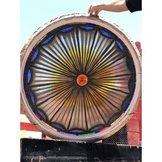 1920s Vintage Art Deco Round Sunburst Stained Glass Window Preview