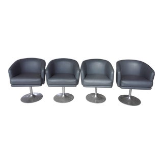 Mid-Century Modern Swivel Chairs with Aluminum Feet - Set of 4 For Sale