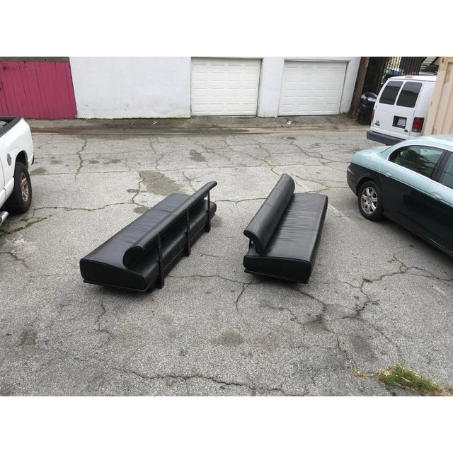Mid-Century Modern Italian Black Leather Sofas With Floating Back - a Pair For Sale - Image 3 of 13