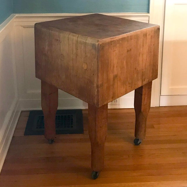 Mid 20th Century 20th Century Rustic Wooden Butchers Block For Sale - Image 5 of 5