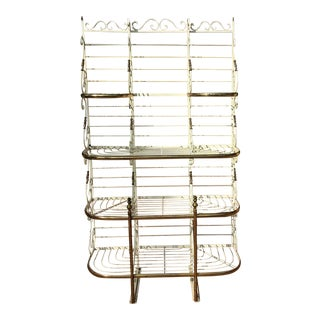 Early 20th Century Brass & Iron French Bakers Rack Scrolled Etagere For Sale