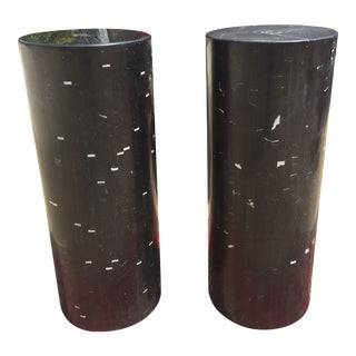 Black Marble Stands With White Accents - A Pair