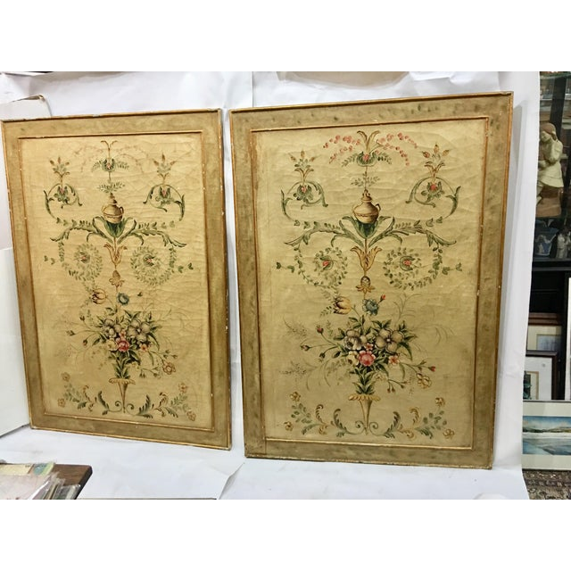A very beautiful vintage pair of large floral canvases backed with wood. Came from an estate in the Hudson Valley. Very...