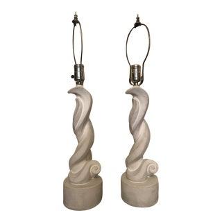 Hollywood Regency Plaster Leaf Lamps - A Pair