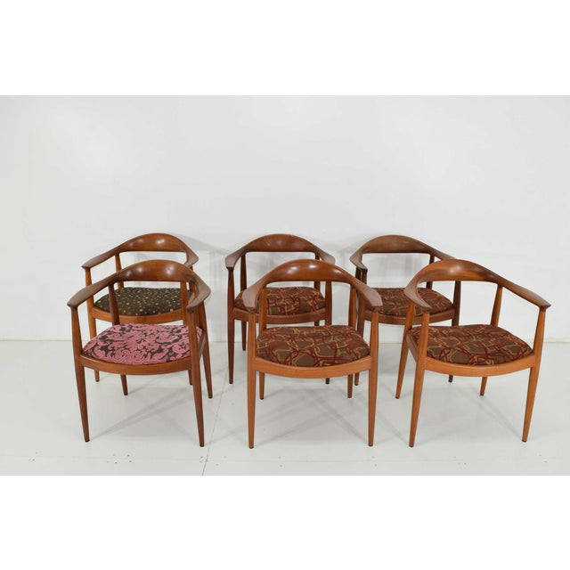 Wood Hans Wegner Round Teak Dining Chairs - a Pair (8 Available) For Sale - Image 7 of 10