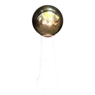 Vintage Gold Mirror Ball on Concrete Stand For Sale
