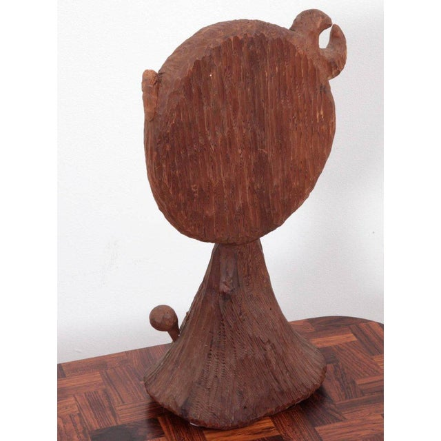 American Midcentury Redwood Sculpture Mirror by Jdmz Signed For Sale - Image 4 of 6